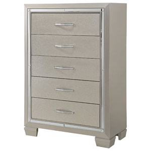 5 Drawer Chest with Mirror Trim