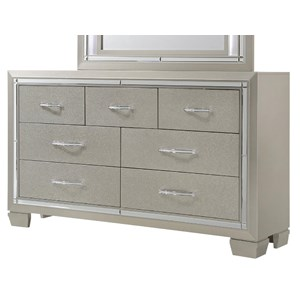 Dresser with Champagne Finish and Mirror Trim