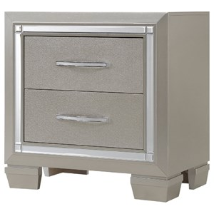 NIghtstand with Champagne Finish and Mirror Trim