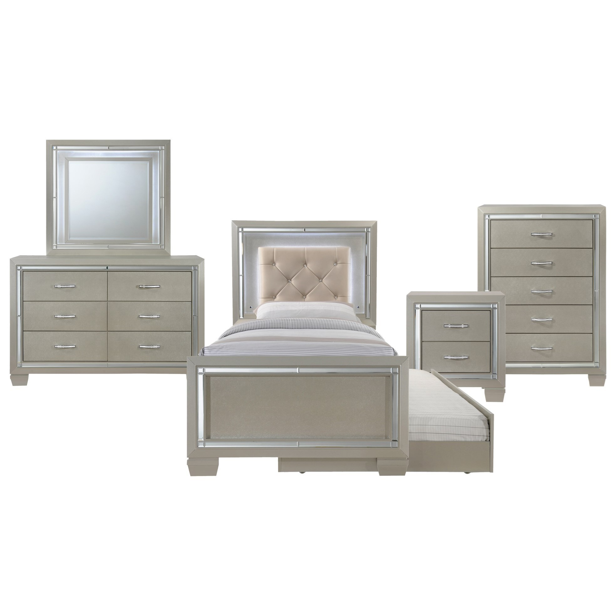 Platinum Twin 5-Piece Trundle Bedroom Group by Elements International at Wilcox Furniture