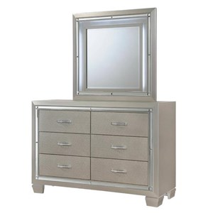Dresser and Mirror Set with Mood Lighting