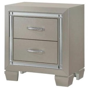 Small Scale NIghtstand with Champagne Finish and Mirror Trim