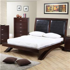King Faux Leather Headboard Platform Bed