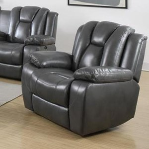 Power Glider Recliner with Deeply Channeled Backrest