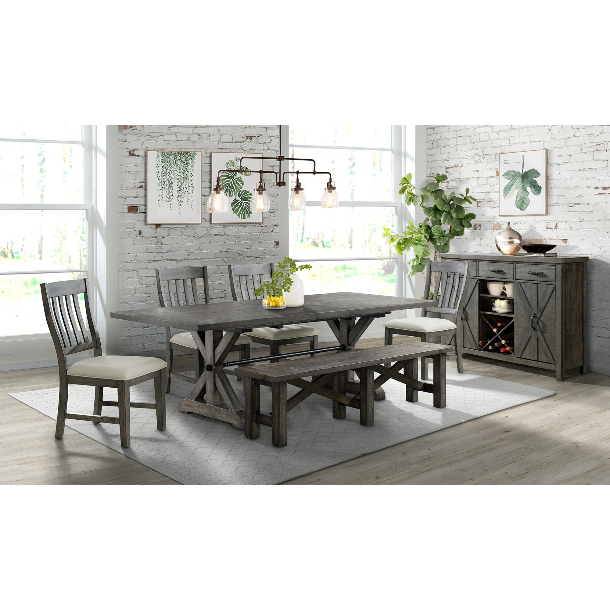 Saw Buck Formal Dining Room Group by Elements International at Wilcox Furniture