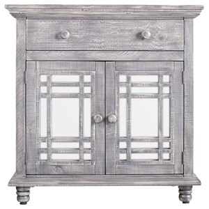 Rustic 2-Door Accent Chest with Mirrored Front