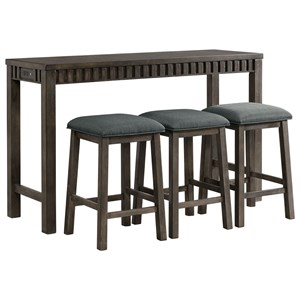 Transitional Counter Height Multipurpose Bar Table Set with USB Port