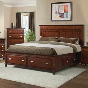 King Panel Bed with Storage Drawers