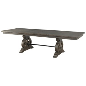 Dining Table with Decorative Scroll Pedestal