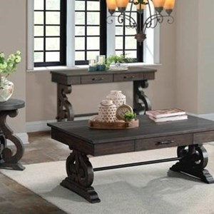 Sofa Table with Scrolled Pedestal Base