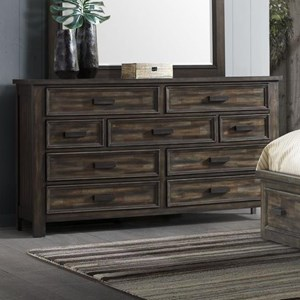 Transitional 9-Drawer Dresser with Felt-Lined Top Drawers