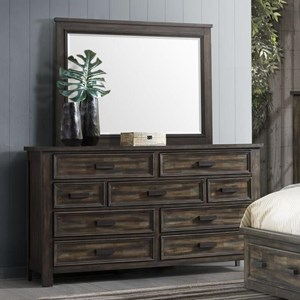 Transitional 9-Drawer Dresser and Mirror Set with Felt-Lined Top Drawers