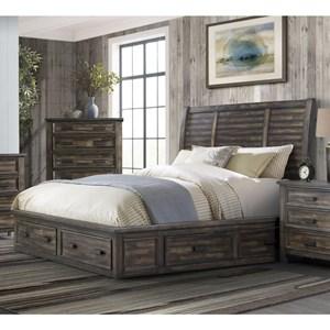 Transitional King 4-Drawer Platform Storage Bed