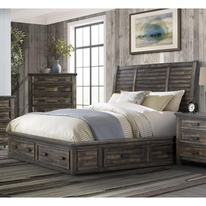 Transitional Queen 4-Drawer Platform Storage Bed