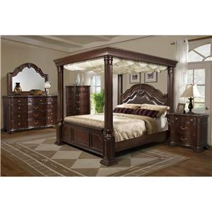 Elements International Tabasco King Canopy Bed, Dresser, Mirror & Nightstan