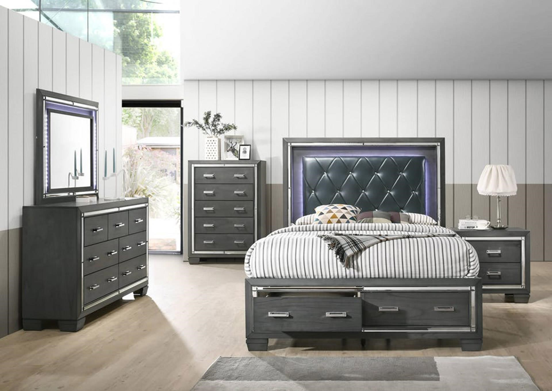 Queen Bed with LED Headboard & Storage Footboard, Dresser, LED Mirror, and Nightstand