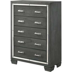 5 Drawer Chest with Chrome Accents