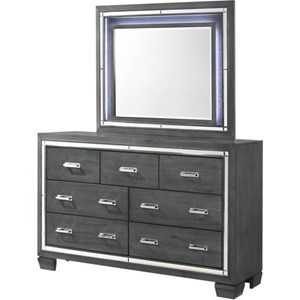 7 Drawer Dresser and Mirror with Built-In Lighting Combo