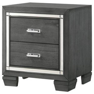 2 Drawer Nighstand with Chrome Accents