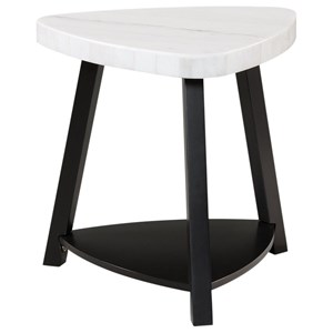 Contemporary White Marble Top End Table