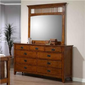 Mission Style Double Dresser and Mirror with Slat Detail