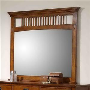 Mission Style Dresser Mirror with Slat Detail