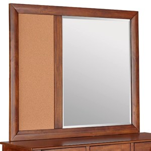 Beveled Mirror with Corkboard and Wood Frame