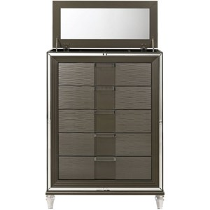 Glam 5-Drawer Chest with Lift Mirror