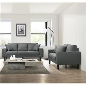Grey Sofa and Loveseat Living Room Set