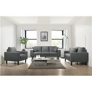 Grey Sofa, Loveseat, and Chair Living Room Set