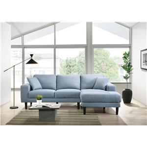 Sky Blue 2 Piece RAF Chaise Sectional