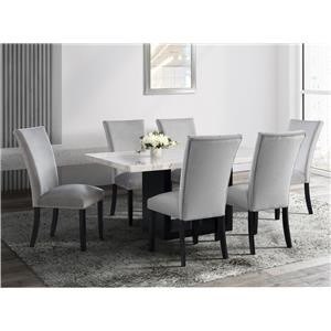 White Marble Top Dining Table & 6 Grey Velvet Side Chairs