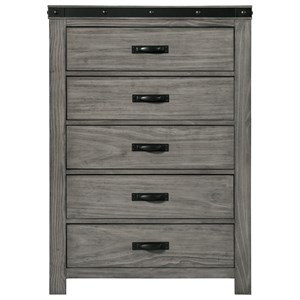 Contemporary 5-Drawer Chest with Felt-Lined Top Drawer