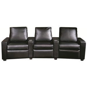 Elite Leather Home Theatre Three Person, Home Theater Seating