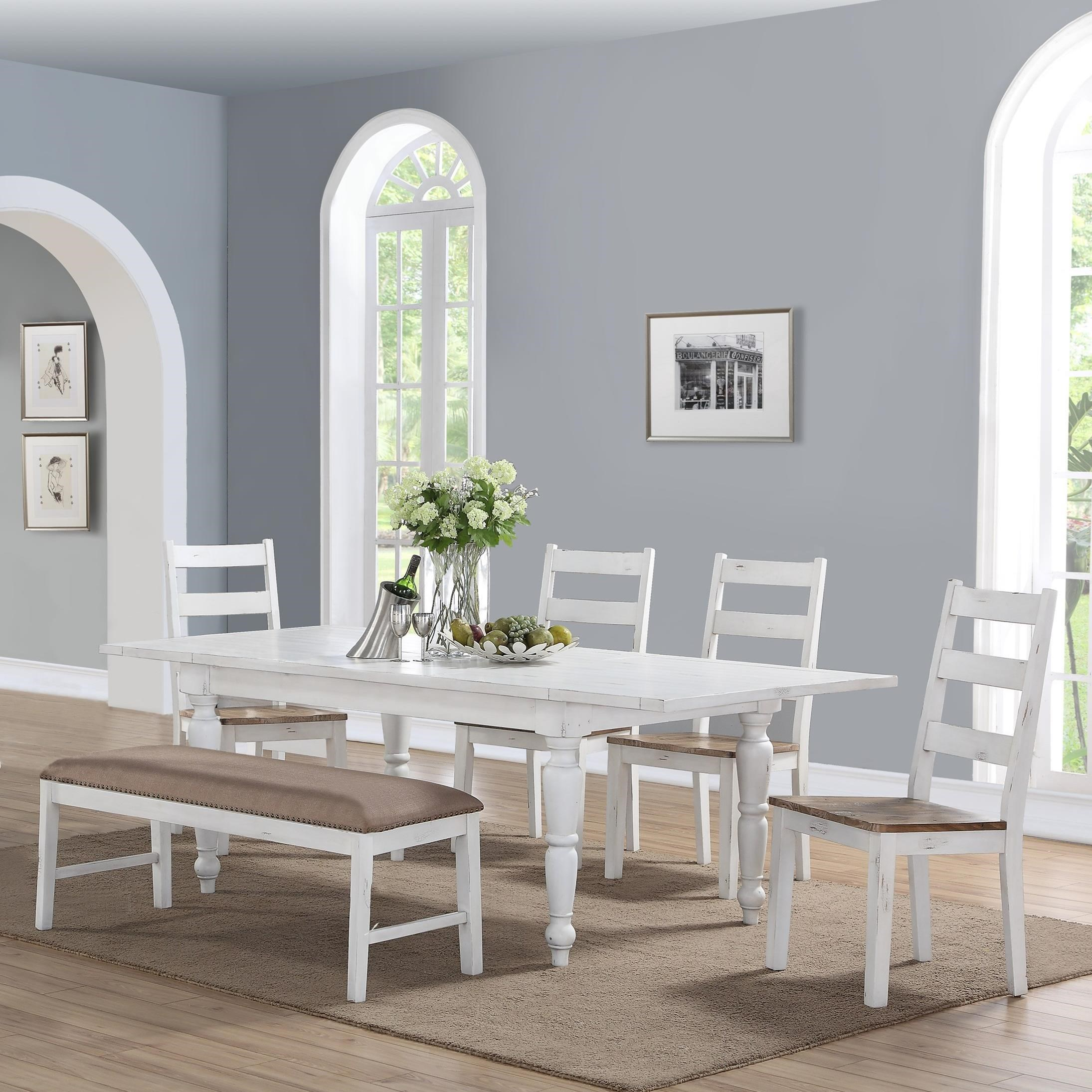 Abaco Dining Table and Chair Set with Bench by Emerald at Michael Alan Furniture & Design