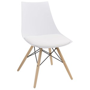 Dining Chair with PU Seat, Wood Base, and Metal Struts