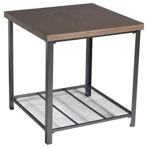 Industrial End Table with Metal Shelf