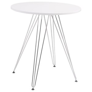 Round Dining Table with Chrome Plated Legs