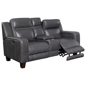 Power Reclining Leather Console Loveseat with Power Headrests, USB, and Dual Memory Buttons