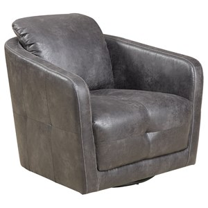 Transitional Swivel Tub Chair with Button Tufting