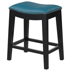 24'' Counter Height Stool with Faux Leather Upholstery and Nailheads