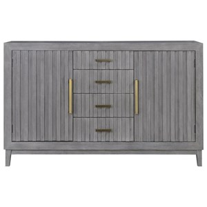 Contemporary 2-Door Server with Brushed Gold Hardware