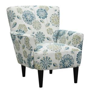Floral Teal Accent Chair