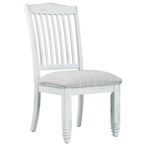 Rustic Slat Back Side Chair with Upholstered Seat