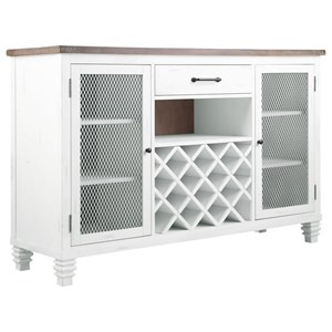 Rustic Server with 7 Shelves and Wine Rack