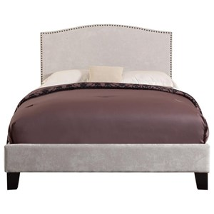 Transitional King Size Upholstered Bed with Nailhead Trim