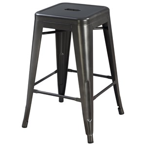 Contemporary Metal Backless Barstool
