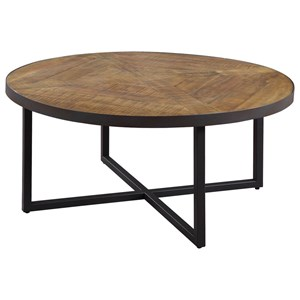 Round Cocktail Table with Metal Base