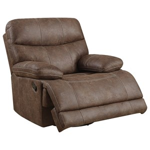 Casual Swivel Glider Recliner with Pillow Top Arms