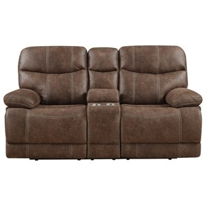 Casual Motion Loveseat with Console and Cup Holders